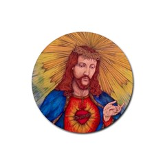 Sacred Heart Of Jesus Christ Drawing Rubber Round Coaster (4 Pack)  by KentChua