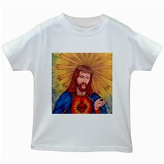 Sacred Heart Of Jesus Christ Drawing Kids White T Shirts by KentChua