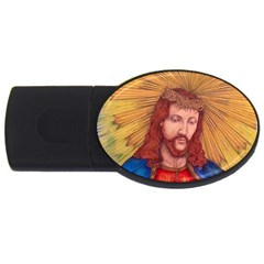 Sacred Heart Of Jesus Christ Drawing Usb Flash Drive Oval (2 Gb)  by KentChua