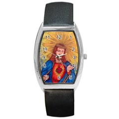 Sacred Heart Of Jesus Christ Drawing Barrel Metal Watches
