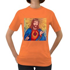 Sacred Heart Of Jesus Christ Drawing Women s Dark T Shirt