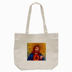 Sacred Heart Of Jesus Christ Drawing Tote Bag (cream)  by KentChua