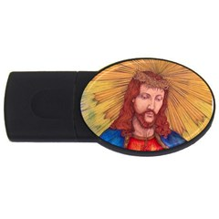 Sacred Heart Of Jesus Christ Drawing Usb Flash Drive Oval (4 Gb)  by KentChua