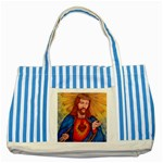 Sacred Heart Of Jesus Christ Drawing Striped Blue Tote Bag  Front