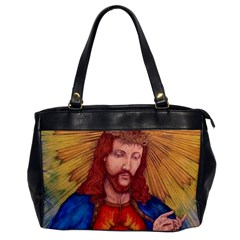 Sacred Heart Of Jesus Christ Drawing Office Handbags by KentChua
