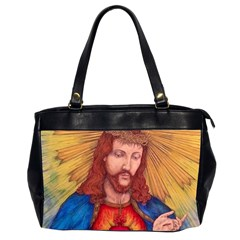 Sacred Heart Of Jesus Christ Drawing Office Handbags (2 Sides)  by KentChua