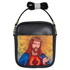 Sacred Heart Of Jesus Christ Drawing Girls Sling Bags by KentChua