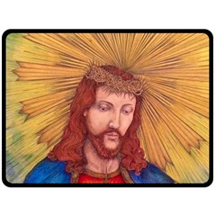 Sacred Heart Of Jesus Christ Drawing Fleece Blanket (large)  by KentChua