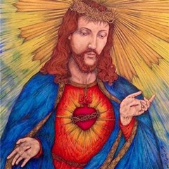 Sacred Heart Of Jesus Christ Drawing Magic Photo Cubes by KentChua