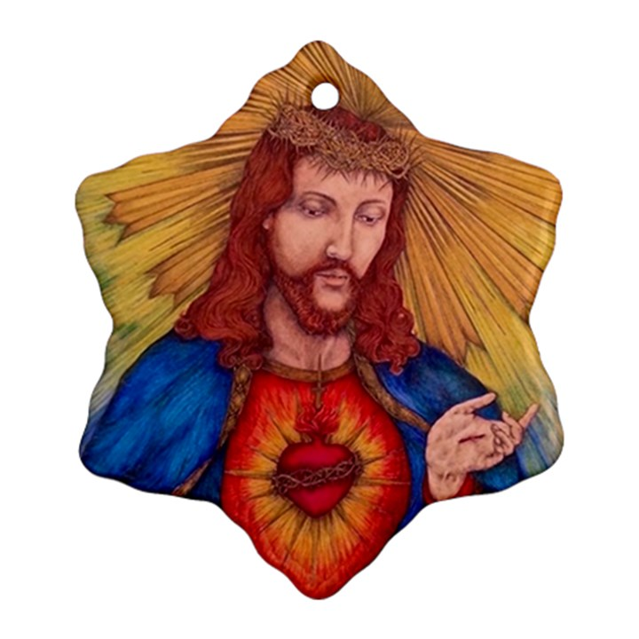Sacred Heart Of Jesus Christ Drawing Ornament (Snowflake)