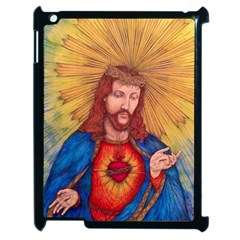 Sacred Heart Of Jesus Christ Drawing Apple Ipad 2 Case (black) by KentChua