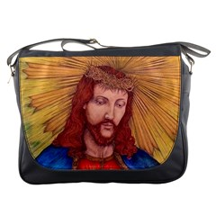 Sacred Heart Of Jesus Christ Drawing Messenger Bags by KentChua