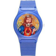 Sacred Heart Of Jesus Christ Drawing Round Plastic Sport Watch (s) by KentChua