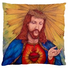 Sacred Heart Of Jesus Christ Drawing Large Cushion Cases (two Sides)  by KentChua
