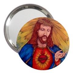 Sacred Heart Of Jesus Christ Drawing 3  Handbag Mirrors by KentChua