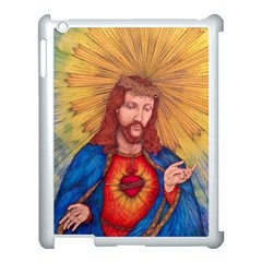 Sacred Heart Of Jesus Christ Drawing Apple Ipad 3/4 Case (white) by KentChua