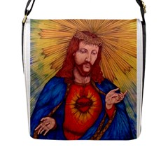 Sacred Heart Of Jesus Christ Drawing Flap Messenger Bag (l)  by KentChua