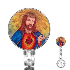 Sacred Heart Of Jesus Christ Drawing Stainless Steel Nurses Watches by KentChua