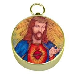 Sacred Heart Of Jesus Christ Drawing Gold Compasses by KentChua
