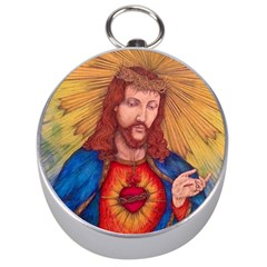 Sacred Heart Of Jesus Christ Drawing Silver Compasses by KentChua