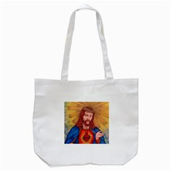 Sacred Heart Of Jesus Christ Drawing Tote Bag (white)  by KentChua