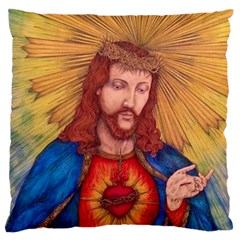 Sacred Heart Of Jesus Christ Drawing Standard Flano Cushion Cases (one Side)  by KentChua