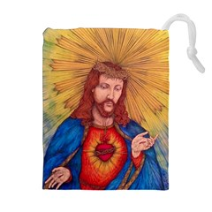 Sacred Heart Of Jesus Christ Drawing Drawstring Pouches (extra Large) by KentChua