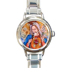 Immaculate Heart Of Virgin Mary Drawing Round Italian Charm Watches by KentChua