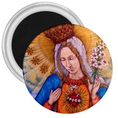 Immaculate Heart Of Virgin Mary Drawing 3  Magnets by KentChua