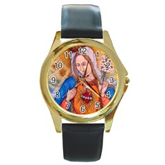 Immaculate Heart Of Virgin Mary Drawing Round Gold Metal Watches by KentChua