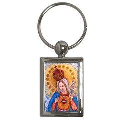 Immaculate Heart Of Virgin Mary Drawing Key Chains (rectangle)  by KentChua