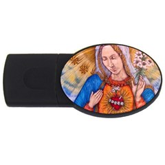 Immaculate Heart Of Virgin Mary Drawing Usb Flash Drive Oval (2 Gb)  by KentChua