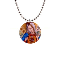 Immaculate Heart Of Virgin Mary Drawing Button Necklaces by KentChua