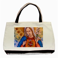 Immaculate Heart Of Virgin Mary Drawing Basic Tote Bag  by KentChua