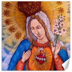 Immaculate Heart Of Virgin Mary Drawing Canvas 12  X 12   by KentChua