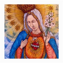 Immaculate Heart Of Virgin Mary Drawing Medium Glasses Cloth by KentChua