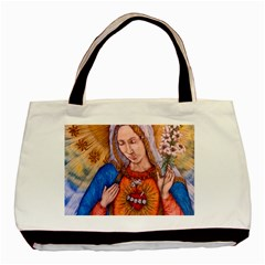 Immaculate Heart Of Virgin Mary Drawing Basic Tote Bag (two Sides)  by KentChua