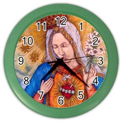 Immaculate Heart Of Virgin Mary Drawing Color Wall Clocks by KentChua