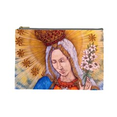 Immaculate Heart Of Virgin Mary Drawing Cosmetic Bag (large)  by KentChua