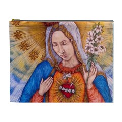 Immaculate Heart Of Virgin Mary Drawing Cosmetic Bag (xl) by KentChua