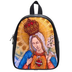 Immaculate Heart Of Virgin Mary Drawing School Bags (small)  by KentChua