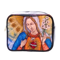 Immaculate Heart Of Virgin Mary Drawing Mini Toiletries Bags by KentChua
