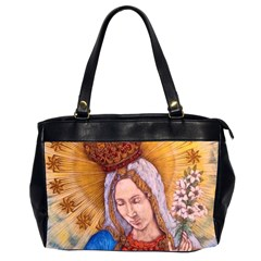 Immaculate Heart Of Virgin Mary Drawing Office Handbags (2 Sides)  by KentChua