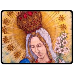 Immaculate Heart Of Virgin Mary Drawing Fleece Blanket (large)  by KentChua