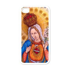 Immaculate Heart Of Virgin Mary Drawing Apple Iphone 4 Case (white) by KentChua
