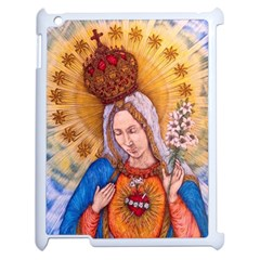 Immaculate Heart Of Virgin Mary Drawing Apple Ipad 2 Case (white) by KentChua