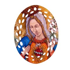 Immaculate Heart Of Virgin Mary Drawing Oval Filigree Ornament (2 Side)  by KentChua