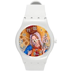 Immaculate Heart Of Virgin Mary Drawing Round Plastic Sport Watch (m) by KentChua