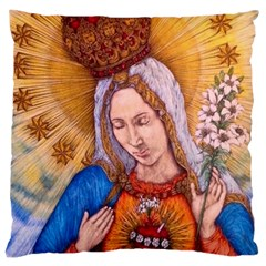 Immaculate Heart Of Virgin Mary Drawing Large Cushion Cases (one Side)  by KentChua