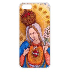 Immaculate Heart Of Virgin Mary Drawing Apple Iphone 5 Seamless Case (white) by KentChua